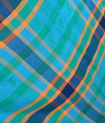 Vintage SAS Scandinavian Airlines Plaid Blanket -Lightweight Blues Green Orange