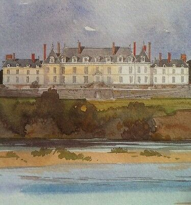 """Watercolor Print CHATEAU MENARS Pierre Deux Country  French """" Antique Style"""" RH"""