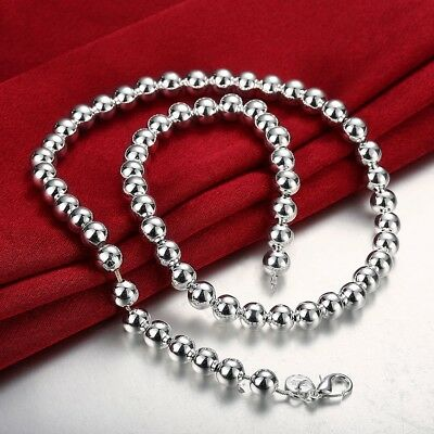 "Mens Womens 925 Sterling Silver 8mm Hollow Balls Beads 20"" Chain Necklace #N140"