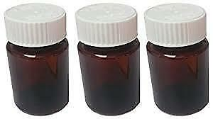 Pill Bottle Medicine Holder with Locking Lid Clear Brown Plastic, 50ml, 5 Pcs