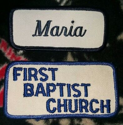 2 Patches. Maria patch. First Baptist Church patch.