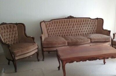 Lounge Suite Classical Carved Timber Antique Reproduction