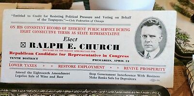 Ralph E. Church Republican Candidate U.S. House of Representatives Campaign Card