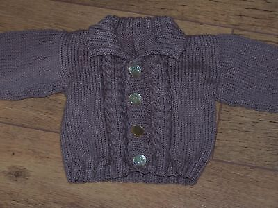 Hand Knitted Baby Boy Cardigan 3-6 Months Chest 46cm