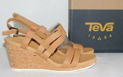 db2b72588425 New Womens Size 7 Teva Arrabelle Leather Tan Wedge Sandals Shoes Strappy
