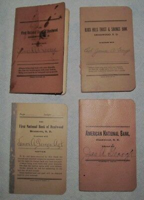 Deadwood, SD Bank Vintage Pass Books Deposit Account 1899-1916 - 4 books