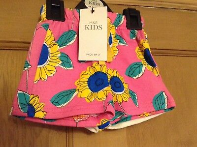 M&S Baby Girl Shorts X3, Age 3-6 Months. Pink/white/yellow, BNWT