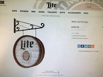 Miller Light Wooden Keg Sign
