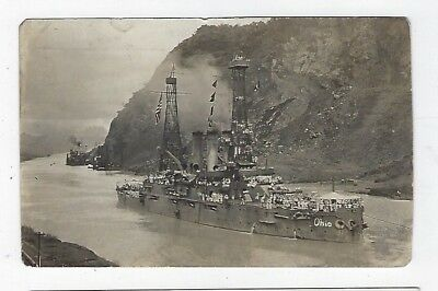 Panama Canal Zone USS Ohio in Panama Canal c. 1914 (owner paid $10)
