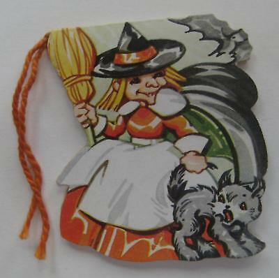Vintage Halloween Die cut Tally Card Witch Pulling Cat Tail A-MERI-CARD