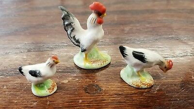 Vintage Lot of 3 Small Porcelain Chickens | Made In Japan