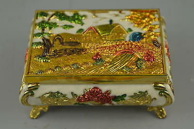 Collectible China Style Cloisonne Carve Village Scenery Rare Ring Jewel Box Gift