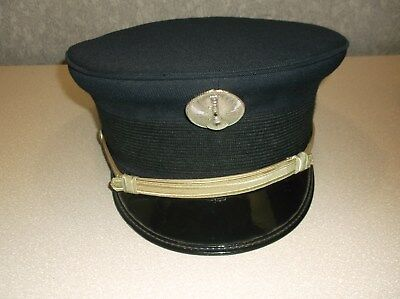 Vintage Fireman's Uniform Cap With Insignia Pin Size 7 1/2