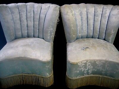2 x Deco 1940s Vintage Shell Damask Blue Shell Parlor Bedroom Vanity Chairs