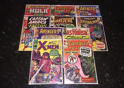 10 MARVEL COMICS-X-Men #16, FF #16, Avengers #16, Tales to Astonish #57, etc.