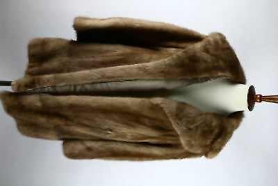 Vintage Taupe Brown Mink Fur Long Sleeve Glamour Coat