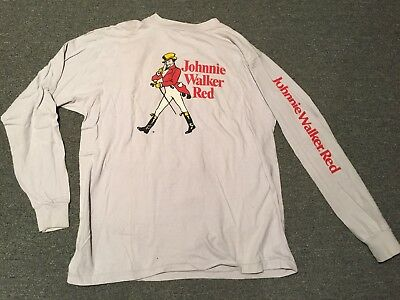 Vintage Johnnie Walker Red Long Sleeve Shirt Rare Alcohol Advertising Whiskey