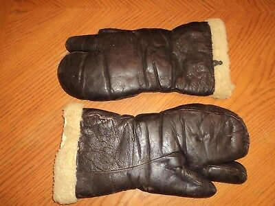 Bacmo Pilot Corp. Leather Sheeps  Wool Lined Gloves tri finger Airforce
