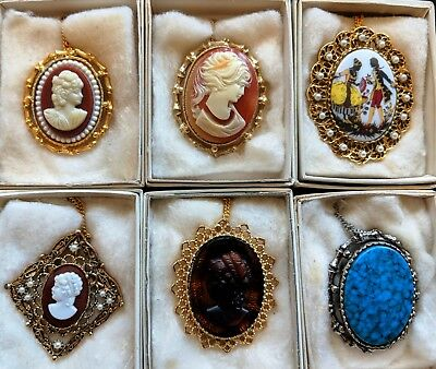 Lot of 6 Great Quality Vintage Cameo Brooch Pendant Necklace Lady head NOS