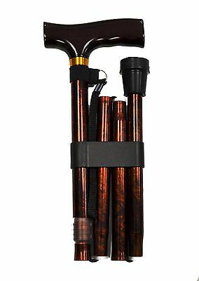 Folding Walking Stick Cane With Ergonomic Handle Height Adjustable Burr Colour