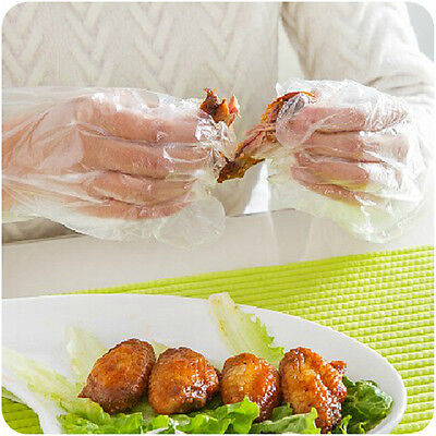 100/1000 pcs BBQ Restaurant Transparent Plastic Food-grade Disposable Gloves New