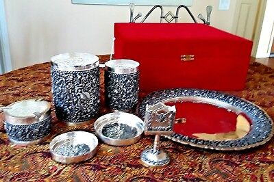 Set Of Antique Dutch Yogya Silver Cigarette Smoking Set, One Of A Kind