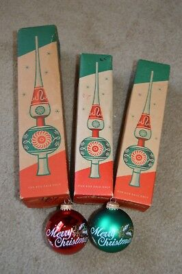 Vintage Shiny Brite Christmas Ornament Mercury Glass Tree Toppers / Ornaments