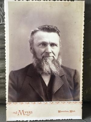 Antique Cabinet Card Photo Victorian Man Great Beard Marcellus Michigan Myers