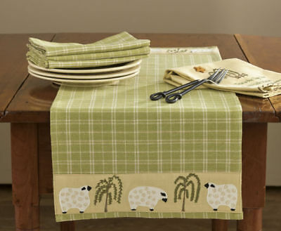 """New Country Primitive Farmhouse SHEEP WILLOW TREE Sage Green Table Runner 36"""""""