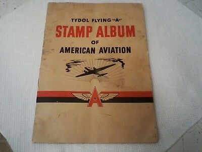 Vintage 1940 Flying A Stamp Album Of American Aviation Tide Water Assoc. Oil Co.
