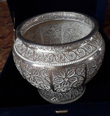 Beautiful Kashmir Karimangar  Silver Filigree Bowl Vase . One Of A Kind