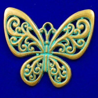 Carved Brass Bronze Butterfly Pendant Bead 55x48x2mm L60929