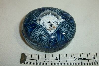 Hand Painted Old English Sheepdog Glass Trinket Box