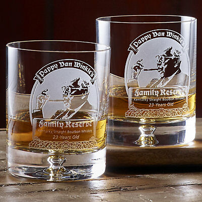 PAPPY VAN WINKLE 2 Rock Glasses bourbon rare man Holiday gift whiskey cave