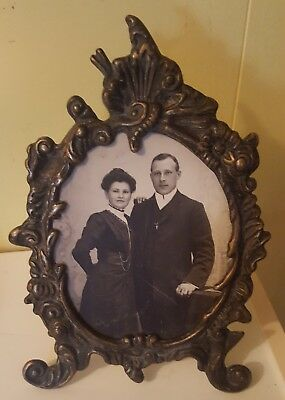 Antique Victorian/Edwardian Art Nouveau Metal Table Photo Frame With Stand
