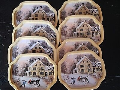 Currier & Ives - Vintage  Set 8 Small Metal Trays