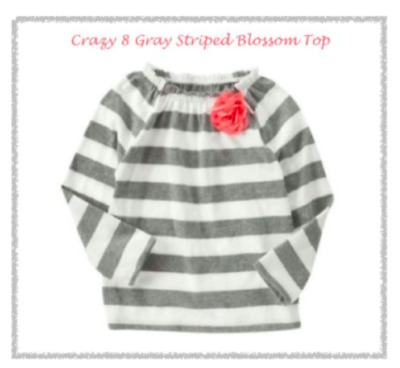 *new* Crazy8 By Gymboree Little Girls Size 3T Gray Striped Blossom Top Tee