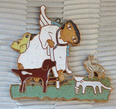 """St Andrew's Abbey 5"""" Veterinarian Angel Handmade Ceramic Ornament Or Wall Plaque"""