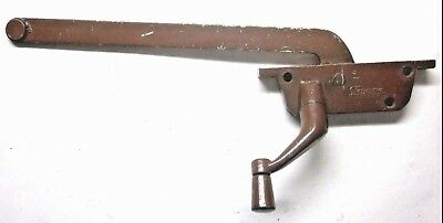 "Vintage Fenestra USA Brown Casement Window Operator Left Hand 9"" Straight Arm"