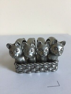 SEAGULL Canada Pewter - Etain Zinn Cats Napkin Rings with Basket - dated 1986