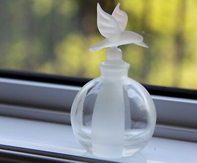 Vintage Opaque Glass Perfume Bottle Hummingbird Stopper/Dabber