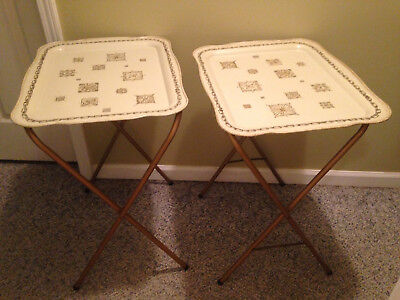 (2) Cal Dak Mid Century Modern Folding Tv Metal Trays Gold Black Cream Very Nice