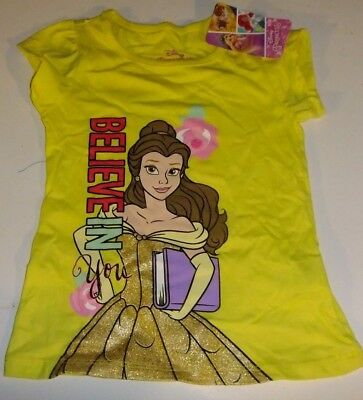 NWT DISNEY PRINCESS 3T Yellow BELIEVE IN YOU  T-Shirt Short Sleeves Glitter