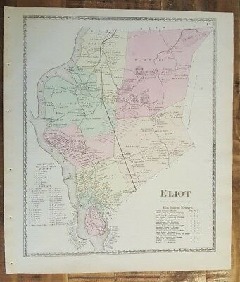 Lyman Maine Map.Antique Colored Map Lyman Maine Atlas York County Me 1872