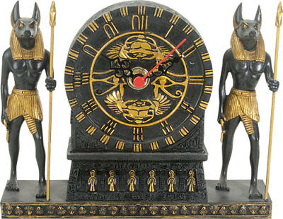 """Ancient Egyptian God Anubis With Scarab Design Table Clock Figurine 6.75"""" Long"""