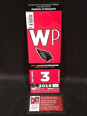 Arizona Cardinals Washington Redskins 9/9 Red West Preferred WP Lot Parking Pass
