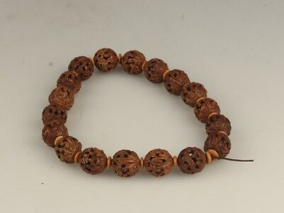 Chinese Exquisite Hand-carved Luohan carving Peach nucleus Bracelets