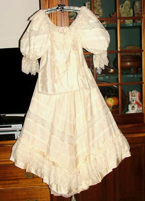 David Fielden London Cream  Silk&Antique Lace Bridal Wedding Gown Dress UK 12/M