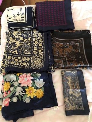 """6 Square Silk Scarfs 100% Silk Ranging From 16"""" To 34"""" Square  Lot #10"""