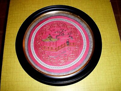 NICE Round Antique Chinese Red Silk Picture w/Embroidered Woman & Pagoda Framed